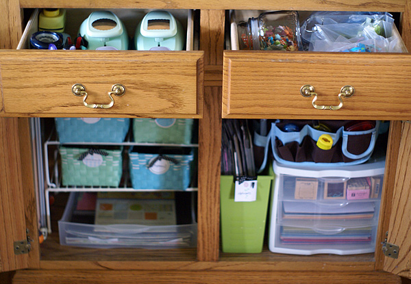 Hutch after, drawers open
