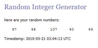 Random lucky numbers 05.21.10