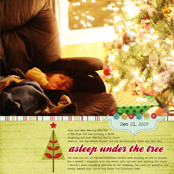 Asleep under the christmas tree