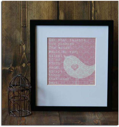 Songbird overlay framed shadow