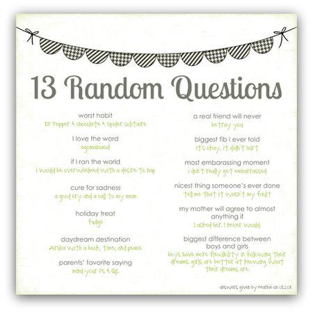 13 random questions marnie