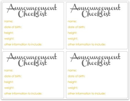 Announcement checklist