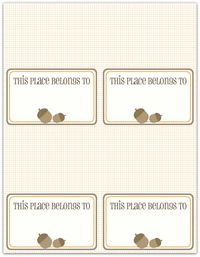 Thanksgiving placecard acorns write click scrapbook