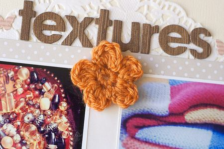 Crochet flower on layout by Francine Clouden-3