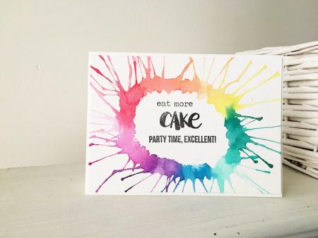 EAT MORE CAKE COLOURFUL CARD