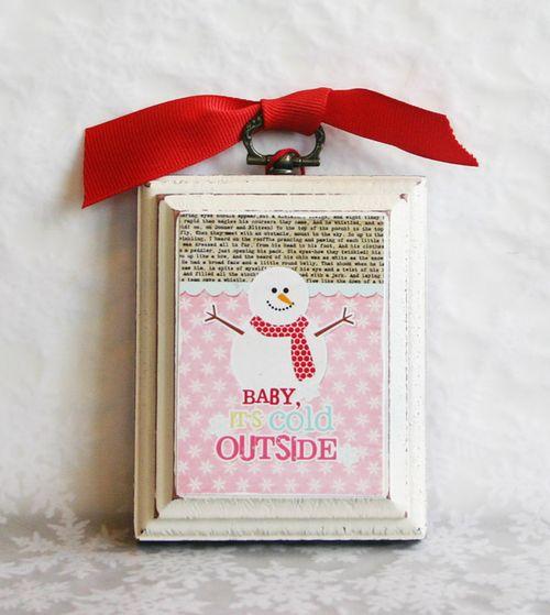 Upcycled Christmas Snowman Christmas Ornament  | Cheryl Overton